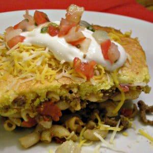taco pasta casserloe on white palte