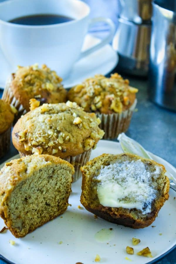 Moist and tender with chunks of banana throughout, these Banana Nut Muffins are always a hit for breakfast or brunch. Great for making ahead, too!