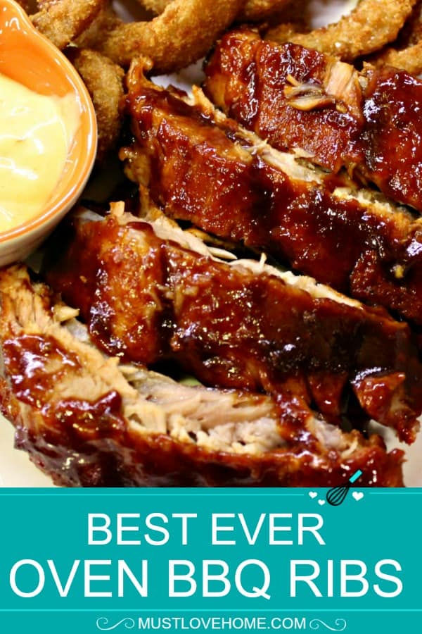"Best Ever Oven BBQ Ribs are moist, fall off the bone pork, smothered in a crispy, caramelized BBQ sauce. Slow cooking in the oven gives the ribs a perfect ""bite"" that is totally worth the wait!"