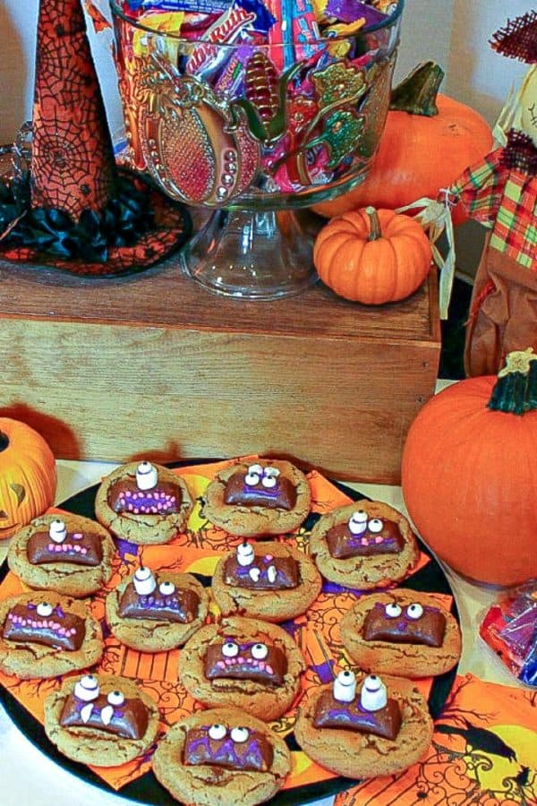 Butterfinger Ghoul Cookies are a tasty peanut butter and candy cookie treat decorated with ghoulish candy faces!