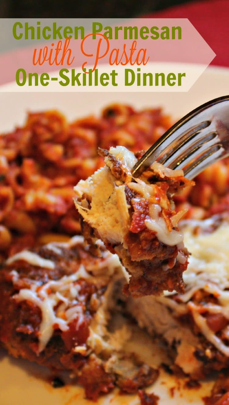 Make this One Skillet Chicken Parmesan Dinner and you will feel like you are in Italian Restaurant. Moist chicken, pasta sauce, spices, pasta and cheese combine to make this an easy dinner favorite.