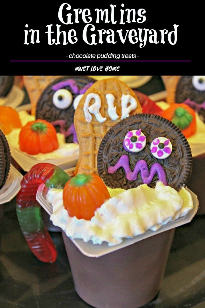 Gremlins in the Graveyard are chocolate pudding cups decorated with a froth of whipped cream, scary cookies and Halloween candy! A great party treat or a snack before the kids head out for Beggars Night!