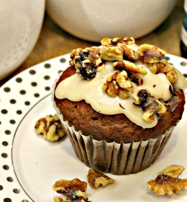 Maple Glazed Banana Muffins are soft and moist with a smooth maple glaze. Chock full of wholesome ingredients like bananas, eggs and walnuts, they make a delicious breakfast treat for the whole family.