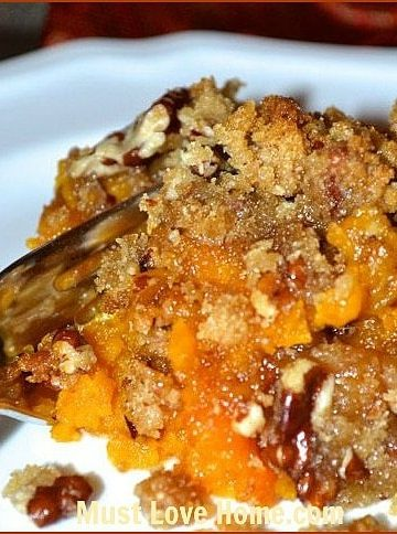 Sweet Potato Souffle is a velvety mixture of oven roasted sweet potatoes and bananas topped with a crumbly pecan crust. Your friends and family will rave about this flavorful dish!