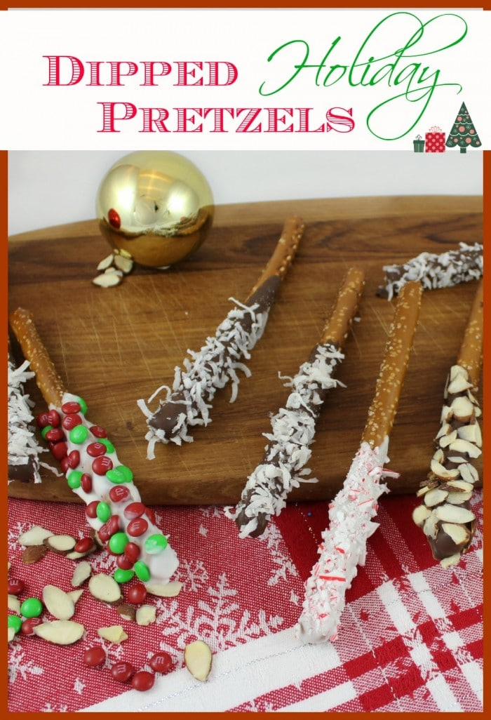 If you love the flavors of sweet and salty together, try dipped holiday pretzels. After you dip them, use your imagination to sprinkle on more flavor with coconut, candies or nuts. They are simple to make, are completely addictive, and are perfect as gifts! Your friends will love them!