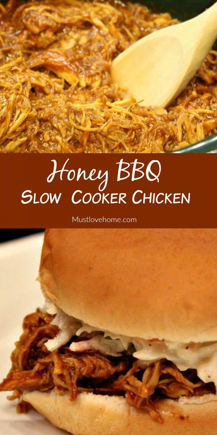 The Best Slow Cooker Pulled BBQ Pulled Chicken you will find. Fall-apart tender, juicy and delicious due to a surprise ingredient.| mustlovehome.com