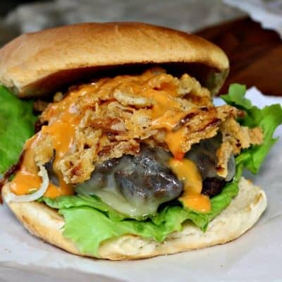 Cheddar Onion Straw Burger