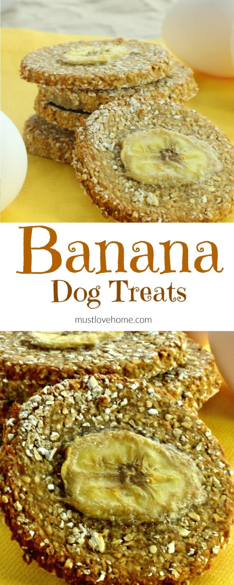 Made with only three ingredients, these easy homemade double Banana Dog Treats will have your furry canine friends begging for more!