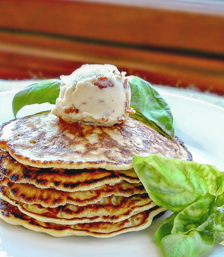 Basil Corn Cakes with Maple Bacon Butter