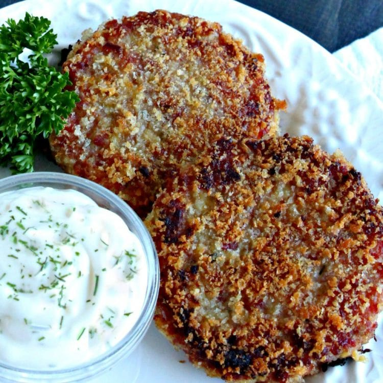 Crisp and savory Ham Cakes served with a fresh garlic dipping sauce is a perfect recipe to use up leftover ham. Great for brunch or dinner and can be made ahead.