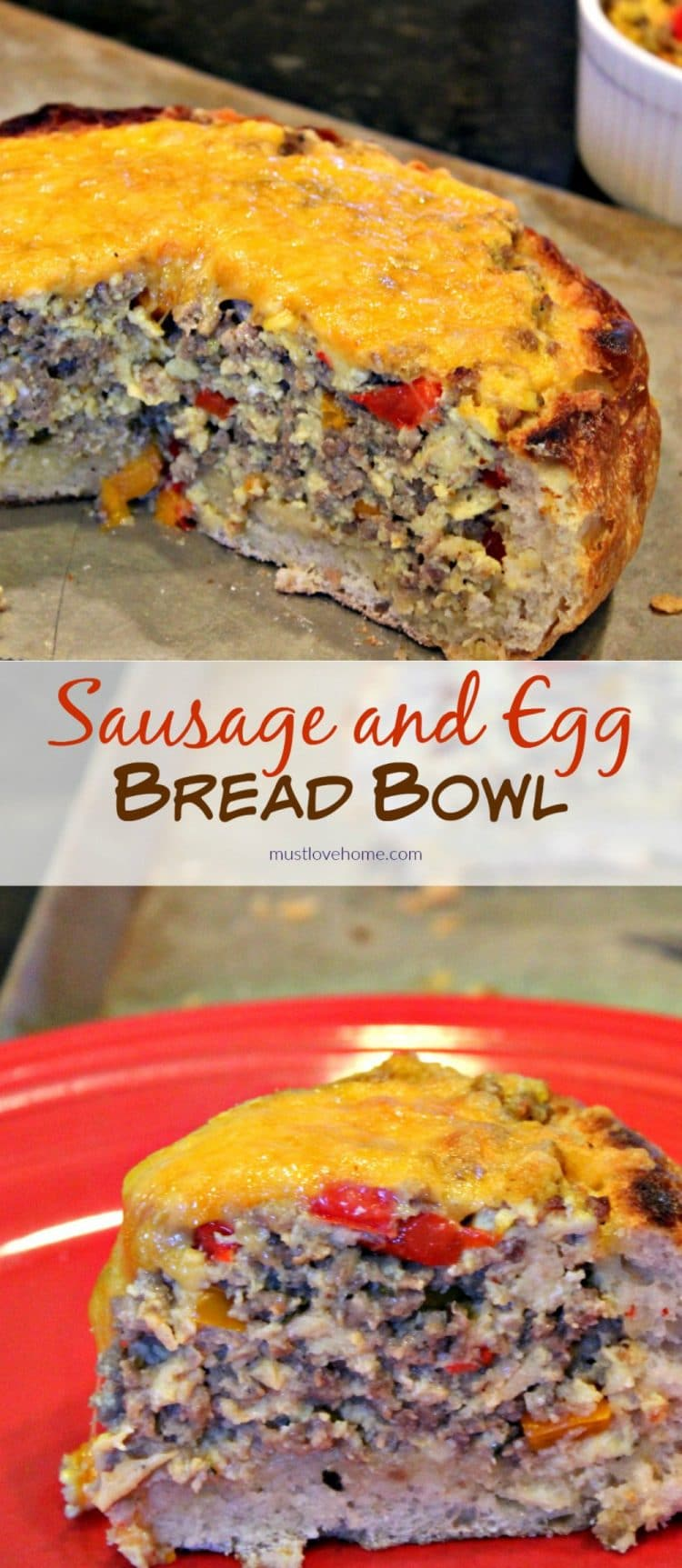 Sausage Egg Bowl - A crunchy Italian bread bowl filled with savory sausage, eggs, cheese and spices - perfect recipe to create a centerpiece dish for your next brunch or dinner!