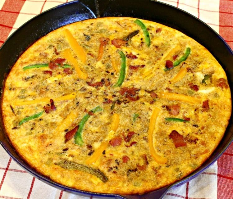 A Southwest Bacon Frittata, on the table in less than 30 minutes! So quick and easy as a weeknight dinner or fancy brunch! And it can be made ahead of time!!