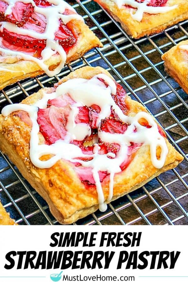 Amazing Fresh Strawberry Pastry - crisp, sugar dusted puff pastry with juicy slices of strawberry baked on top.