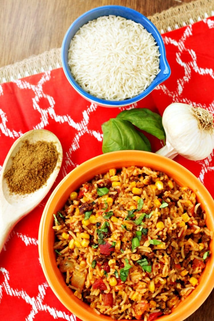 Mexican Chorizo Rice is a hearty and flavorful blend of rice, chorizo, tomatoes, peppers and spices that can be served as a main meal or a side dish.