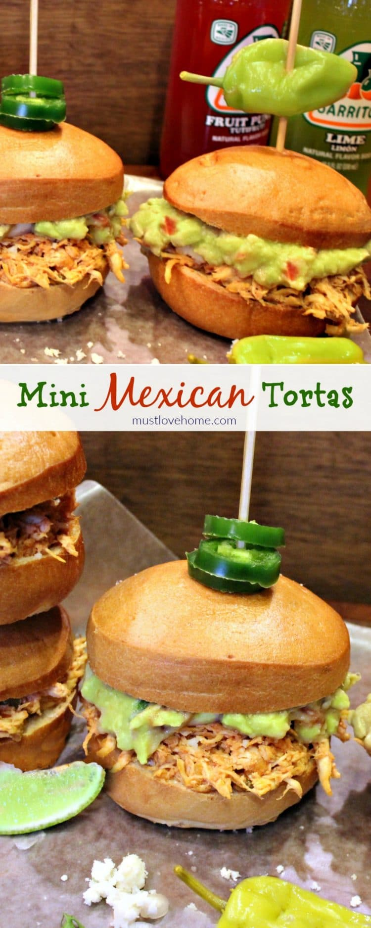 Mini Mexican Tortas are little sandwiches filled with spicy chicken, guacamole and Queso Fresco served up on a warm toasted roll - perfect as appetizers or serve with beans and rice for a complete meal!