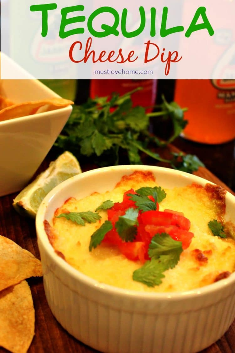 Tequila Queso Fundido is melted cheese flavored with tomatoes, chiles, onion and a splash of tequila - perfect with tortilla chips or served in warmed tortillas for your next party!