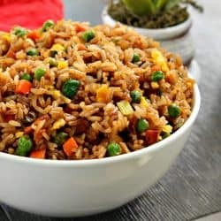 Easy Fried Rice is take-out style rice with loads of flavor that you can make yourself in just minutes! Great for using up leftovers too!!