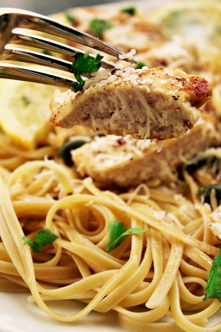 Pan fried chicken breasts smothered in a creamy lemon garlic sauce, this Lemon Garlic Chicken Piccata will keep everyone coming back for more! Parmesan cheese, basil and capers take the already amazing flavor over the top!