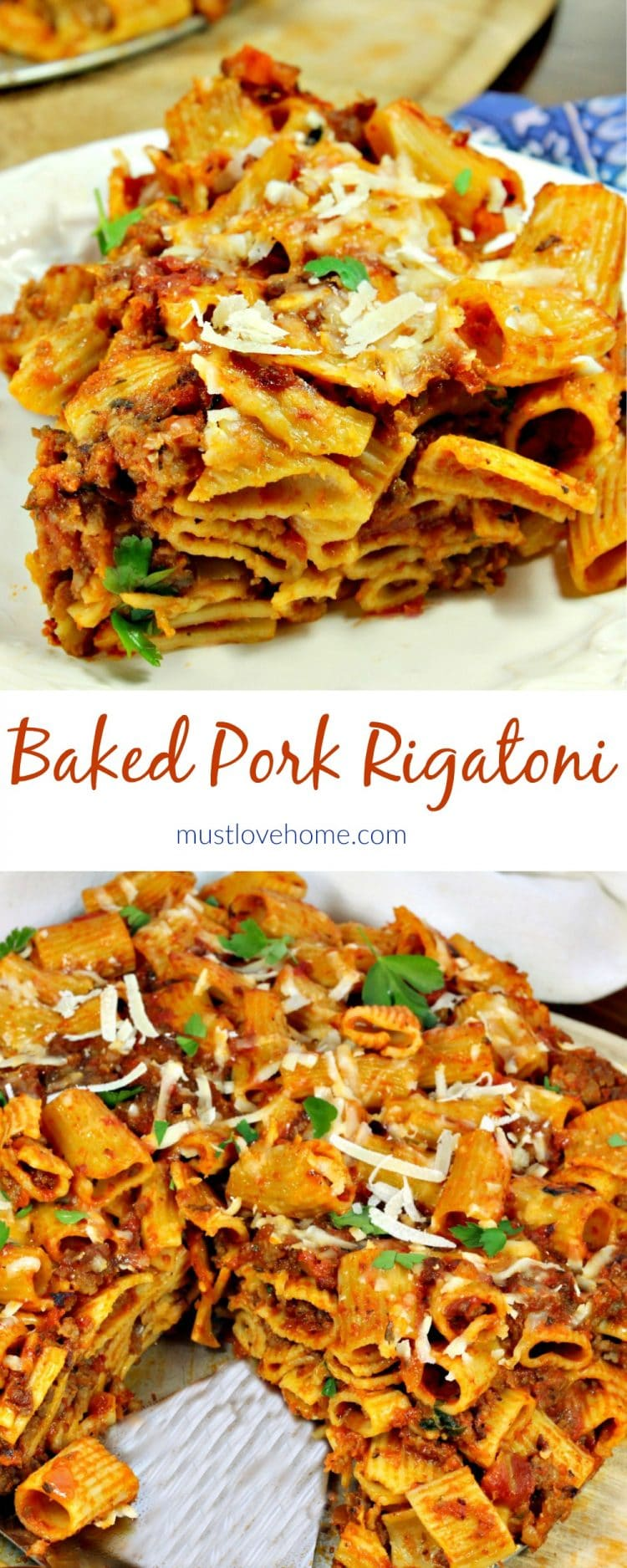 Pork Rigatoni Bake - a simple weeknight meal that is ready in minutes, but looks sophisticated. Ground italian sausage is mixed with sauce, tossed with rigatoni noodles and parmesan cheese, then baked with more parmesan on top. This one is sure to please the entire family!