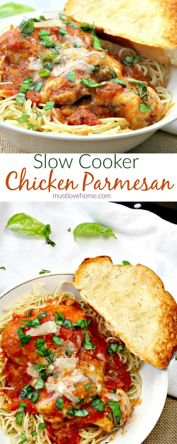Slow Cooker Chicken Parmesan is an Italian Classic - tender chicken thighs coated with a tangy tomato sauce and then covered in a layer of bubbling Mozzarella cheese - so easy to make in the slow cooker!