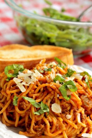 Easy Crock Pot Spaghetti is the real deal - with just beef, pasta , sauce and a few spices it is a cinch to make and full of flavor.