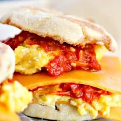Cheesy Egg Sandwich with Smoked Scallion Sauce