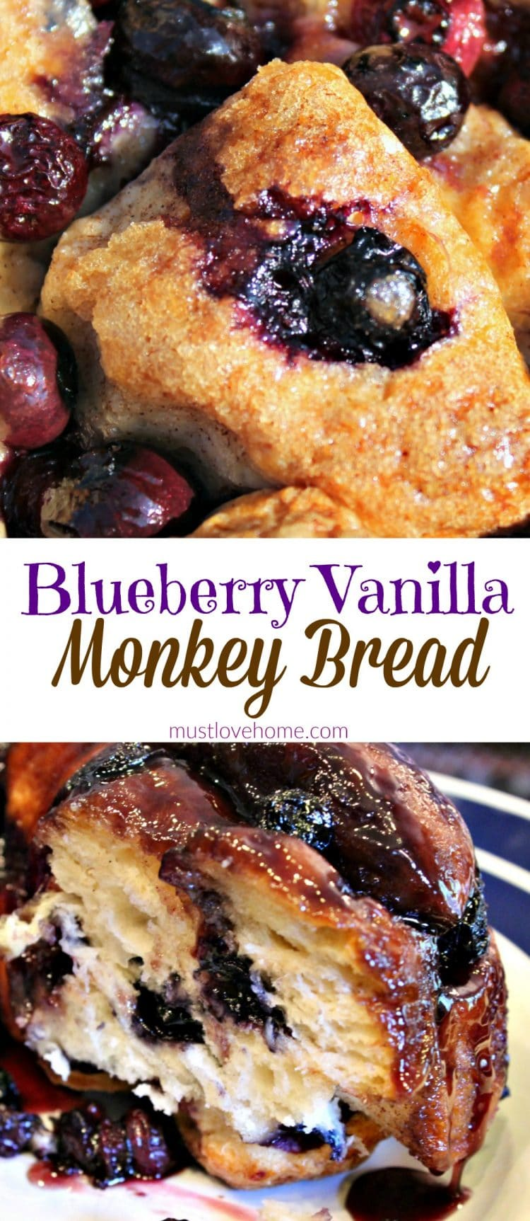 Blueberry Vanilla Monkey Bread is a delicious pull apart bundt loaf chock full of blueberries, smothered and baked in a syrup made from cinnamon, butter and vanilla. It is an amazing brunch dish that will also be a hit at any potluck or party!