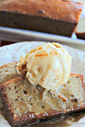 Bananas Foster Bread with rum sauce is a take on the New Orleans classic dessert. Made in the traditional banana bread style, the warm loaf is soaked in rum sauce, then served with more sauce and a scoop of vanilla ice cream. A rich, adult dessert.