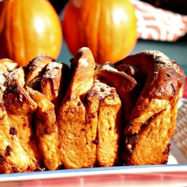 Chocolate Pumpkin Spice Pull Apart Bread - a buttery loaf chock full of autumn flavors. Chocolate chips, pumpkin pie spice and frozen bread dough combine to make the most amazing sweet bread!