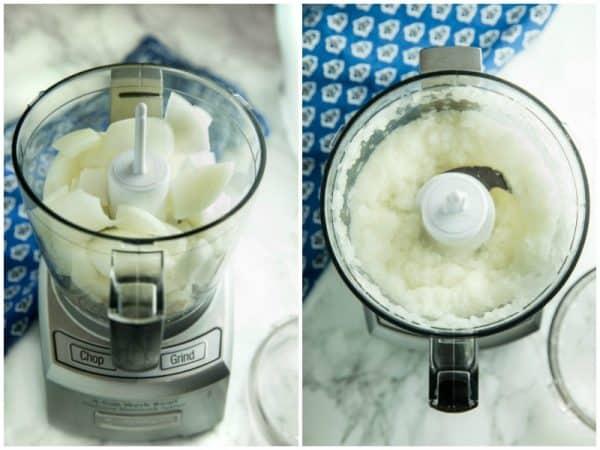 Onion in mini food processor for kitchen hack