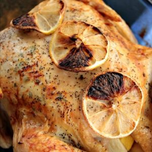 Lemon Rosemary Roast Chicken is infused with woodsy herb flavor, with every bite moist and juicy. With crisp, buttery skin and a hint of lemon, this main dish makes a beautiful presentation that is perfect for company or anytime.