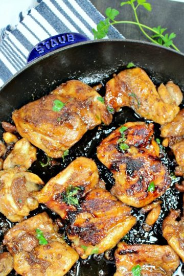 Sweet and Soy Chicken is pan seared chicken thighs drenched in a thick, sweet soy glaze.