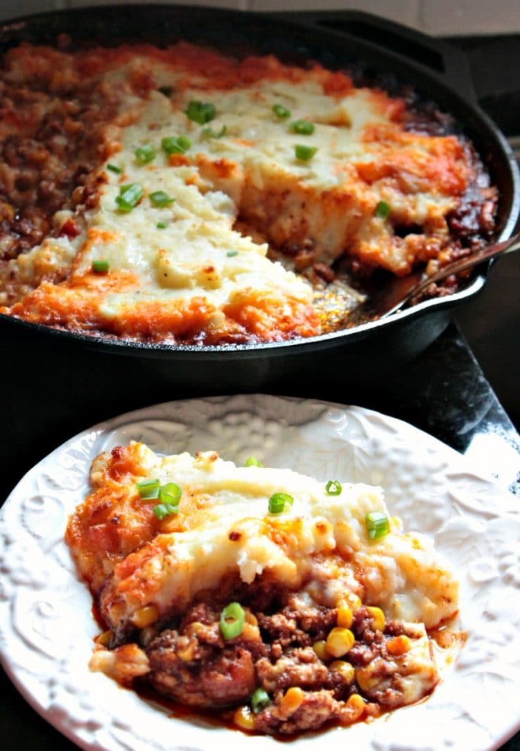 Chorizo Shepherd's Pie is a hearty blend of Mexican Chorizo, chicken and corn with a spicy tomato sauce, topped with velvety pepper jack cheese mashed potatoes. A complete meal that is ready in under an hour.