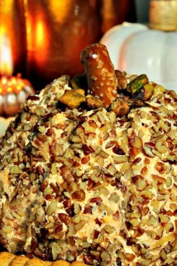 Pumpkin-Shaped Cheddar Cheese Ball - your guests will love the cute seasonal shape! There is no pumpkin in the recipe, the inside is savory smooth cheddar, cream cheese and spices. Great to eat right away and even better when made ahead!
