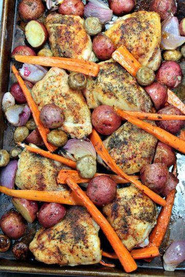 One Pan Roast Chicken with Balsamic Vegetables - smoky herb chicken, roasted on a bed of balsamic tossed fresh vegetables. Makes a complete meal that is ready in less than an hour!