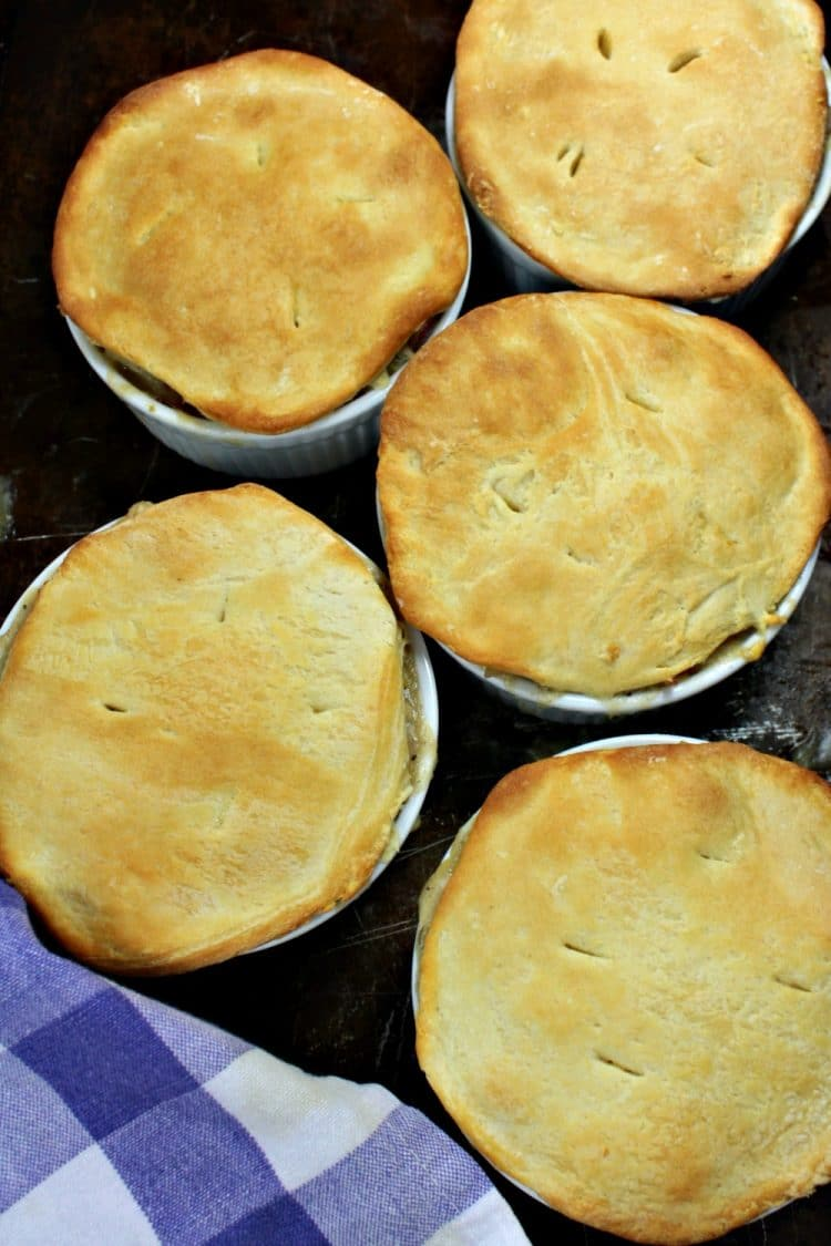 Slow Cooker Chicken Pot Pie is chicken, vegetables and savory gravy, topped with a flaky crust.