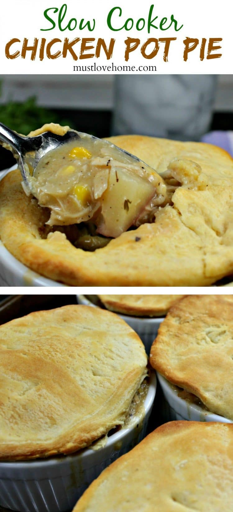 Slow Cooker Chicken Pot Pie is chicken and vegetables, smothered with a savory homemade gravy, topped with a crisp,flaky crust, No cream of chicken soup is used!
