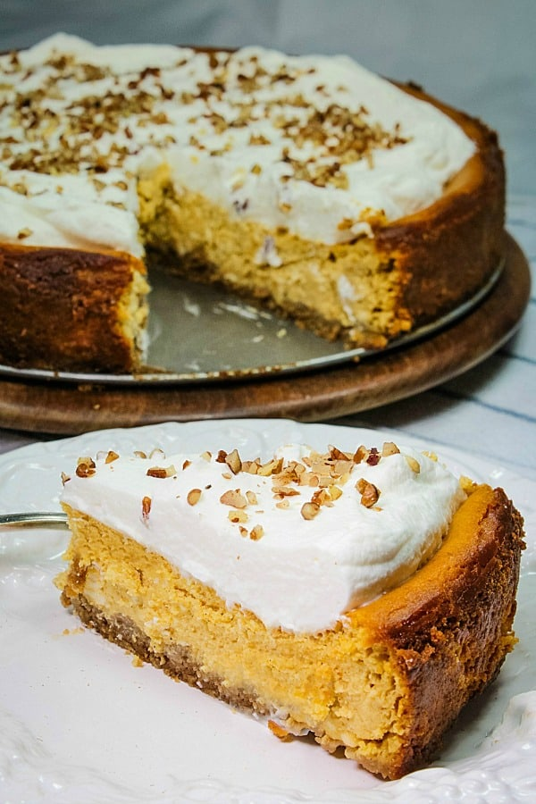 Fall parties and holidays are extra special with a rich and creamy homemade Brown Sugar Pumpkin Cheesecake.  Packed with seasonal flavor in every bite!