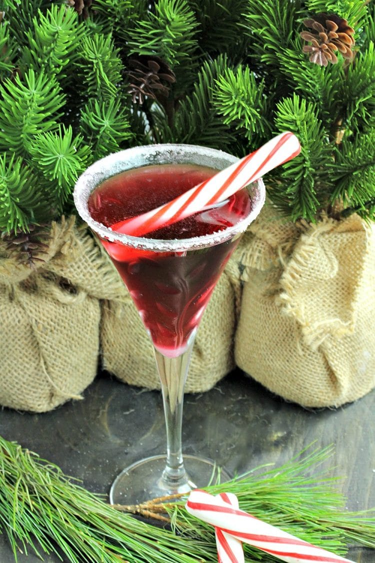 Surprise your guests by serving them a festive Pretty In Peppermint Martini! Made with Vanilla Vodka, Peppermint Schnapps and Stirrings Pomegranate Cocktail mixer, garnished with a peppermint stick! Holiday spirits never tasted so good!