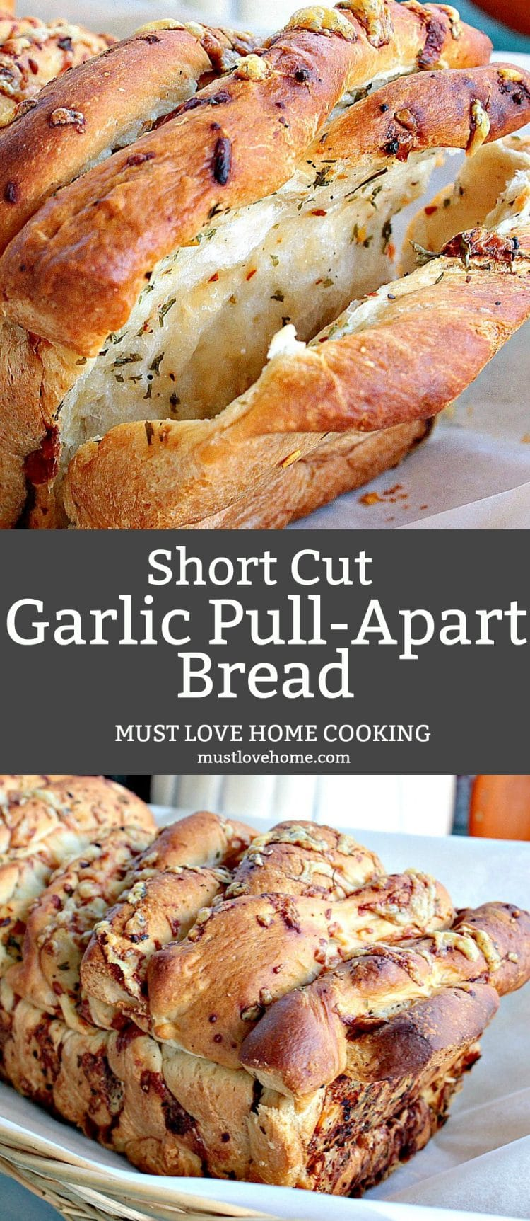 Garlic Parmesan Pull Apart Bread is a rustic, buttery loaf loaded with  flavor. It looks fancy but it could not be easier to make. No yeast or kneading to worry about  because this recipe uses frozen bread dough!