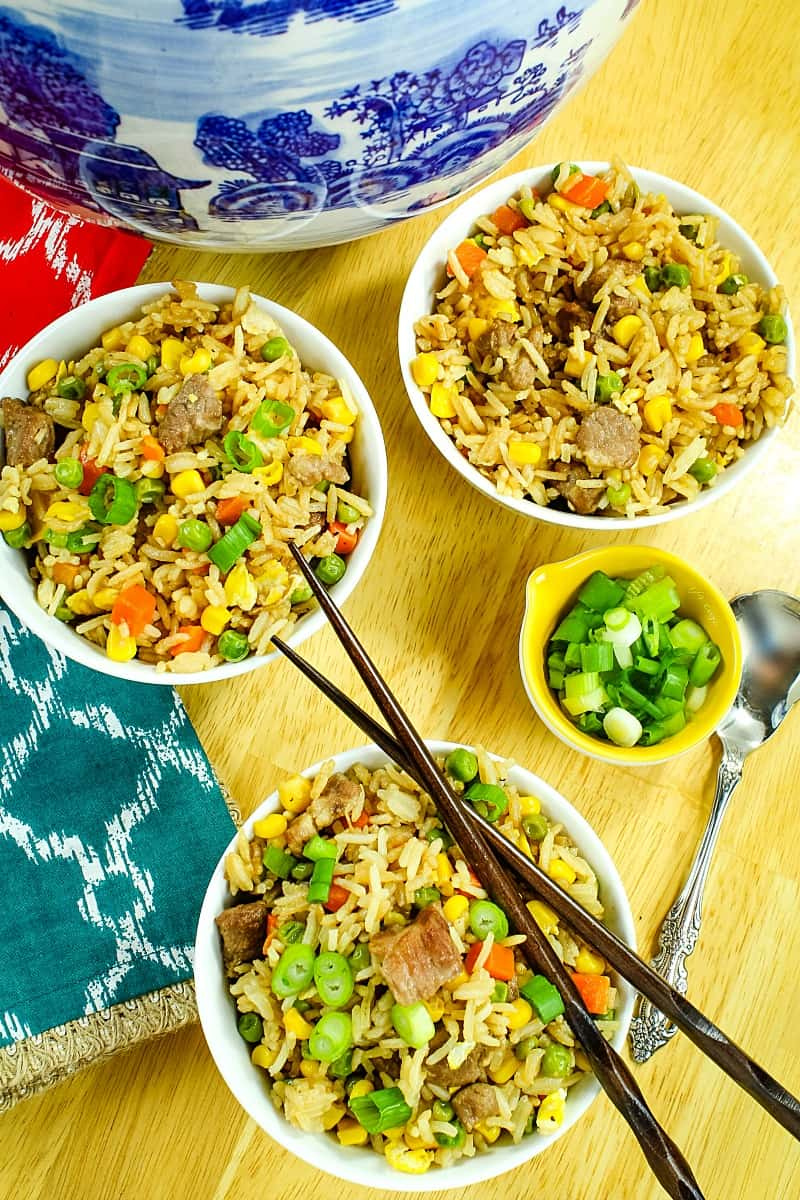 Pork and Vegetable Ponzu Fried Rice is better than take-out! Ponzu gives this fried rice a refreshing hint of citrus flavor and is lighter than standard soy sauce!
