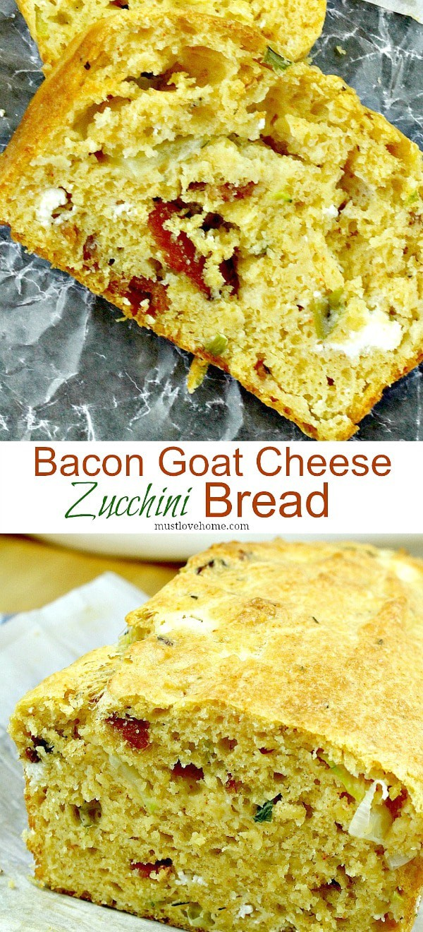 Goat Cheese Bacon Zucchini Quick Bread is a savory loaf with creamy goat cheese,smoky bacon and tender zucchini chunks.