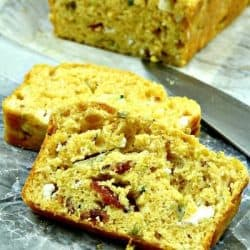 Bacon Goat Cheese Zucchini Bread sliced