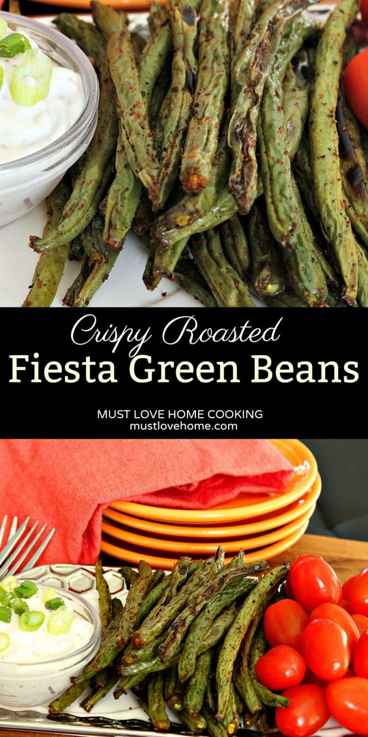 Fiesta Green Beans - serve something different on your next veggie tray. Crispy and spicy and charred to perfection, Fiesta green Beans are perfect for dipping into your favorite sauce. And they are healthy too, so how can anyone resist!