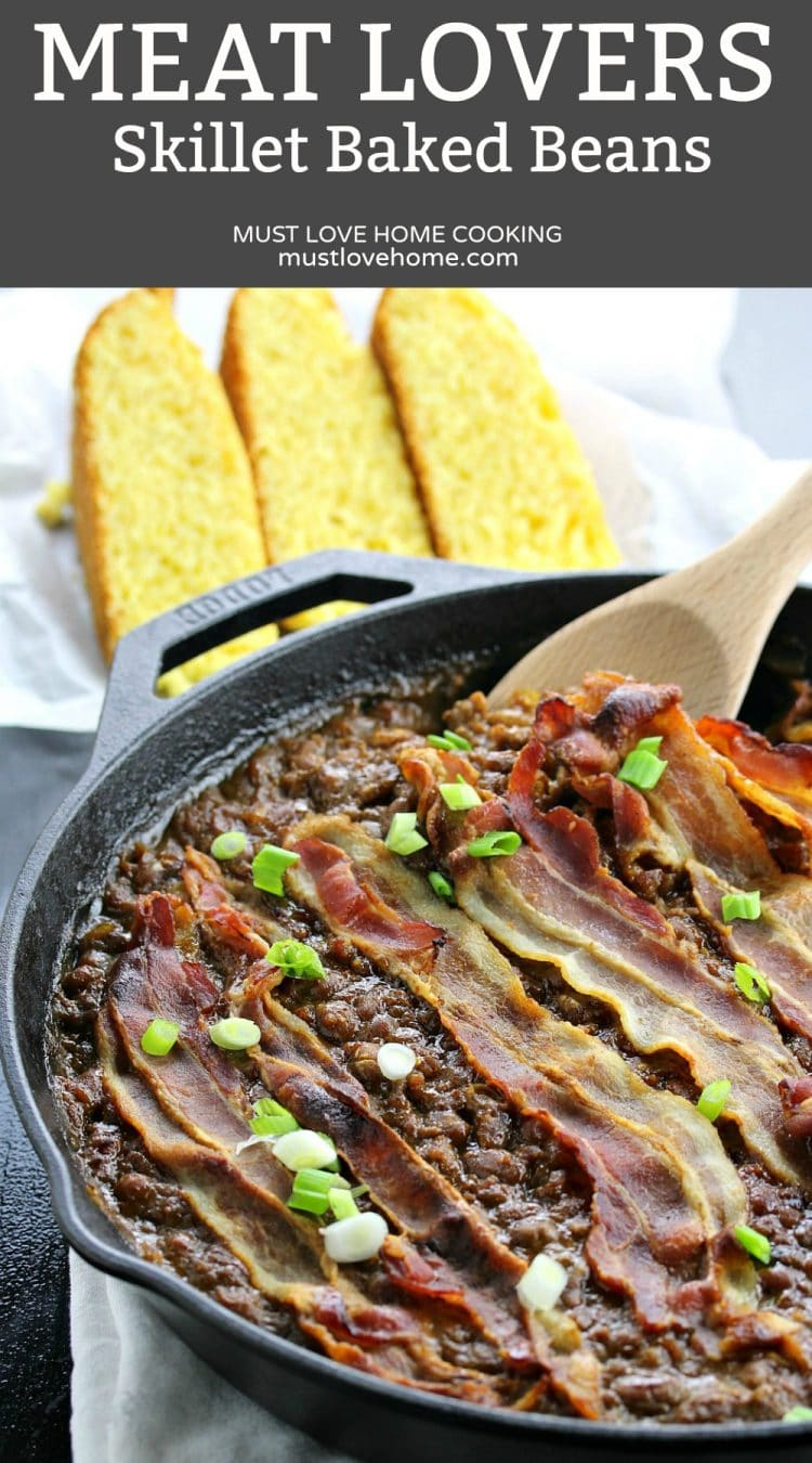 Loaded with Beef, Italian sausage and Bacon and dripping with tangy sauce, this Meat Lovers Skillet Baked Beans is both comfort food and a satisfying meaty meal.