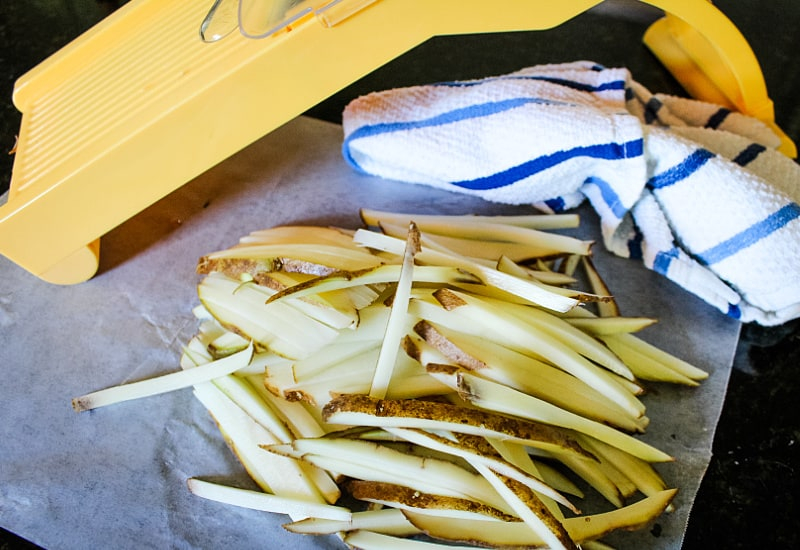 potatoes cut into fries with mandolin