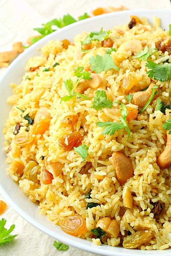 Red Curry Rice with Raisins and Cashews is an easy meal that packs a big flavor punch and is ready in minutes.