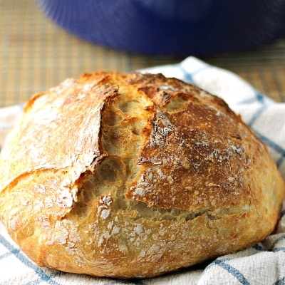 Rustic No Knead Bread, made with ingredients you can find anywhere. Use this easy recipe to bake fresh, homemade bread that you can serve with dinner tonight!