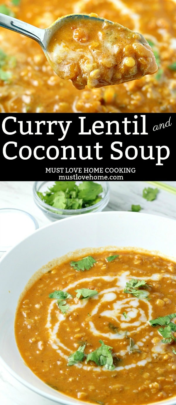 Curry Lentil Coconut Soup is a vegetarian delight! Red Lentils, coconut and ginger give this easy soup amazing flavor.