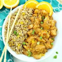 Instant Pot Orange Chicken, has an addictive sweet sticky sauce and a touch of heat.